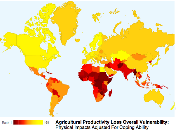 Agricultural productivity loss overall vulnerability: physical impacts adjusted for coping ability