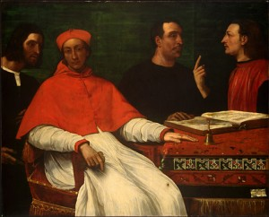 Cardinal and Geographers Science Providence Pouvoir 1516 Cardinal Bandinello Sauli, His Secretary, and Two Geographers