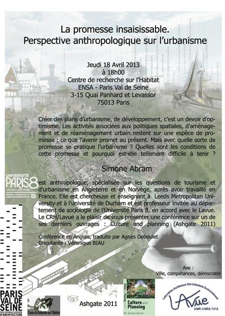 Conférence avec Simone Abram «Perspective anthropologique sur l'urbanisme», 18 avril