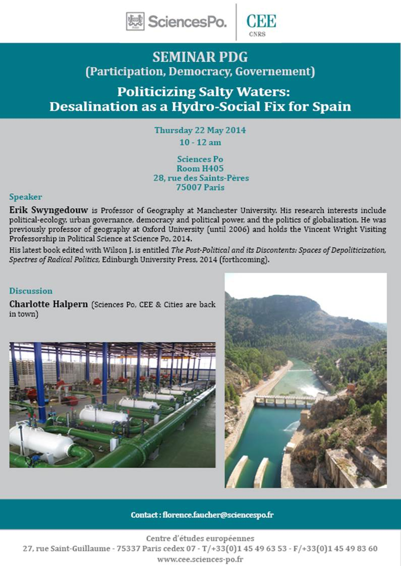 SEMINAR PDG : Erik Swyngedouw : 22 may : Politicizing salty waters : Desalination as a Hydro-Social Fix for Spain