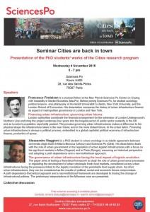 Séminaire : Francesco Findeisen et Alessandro Maggioni, doctorants du programme CITIES, Mercredi 4 novembre 2015, 17h-19h
