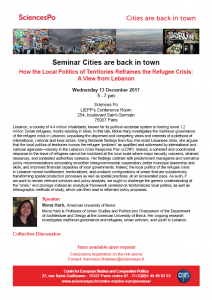 [Séminaire Cities are back in town] Mona Harb, « How the Local Politics of Territories Reframes the Refugee Crisis: A View from Lebanon », mercredi 13 decembre 2017, 17h-19h.