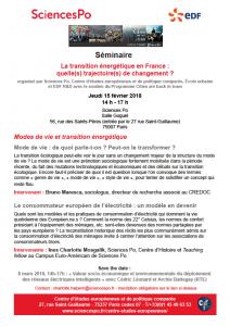 [Séminaire Sciences Po/EDF—La transition énergétique en France : quelle(s) trajectoire(s) de changement ?] Jeudi 15 février, 14-17h : «Modes de vie et transition énergétique».