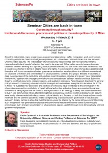 [Séminaire Cities are back in town] – Fabio Quassoli «Governing through security? Institutional discourses, practices and policies in the metropolitan city of Milan», mercredi 14 mars, 17h-19h.