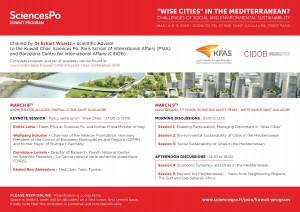 "[Conférence] "" 'Wise Cities' in the Mediterranean?"", jeudi 08.03 au vendredi 09.03, Sciences Po Paris."