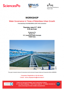 [Workshop] MEGOWAS consortium « Water Governance in Times of Relentless Urban Growth », 21 June 2018 at 9.30 am.