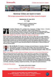 [Séminaire Cities are back in town] –  Carolina Requena et Niccolò Morelli, doctorant.e.s du programme Cities, mercredi 20.06, 17h00-19h00.