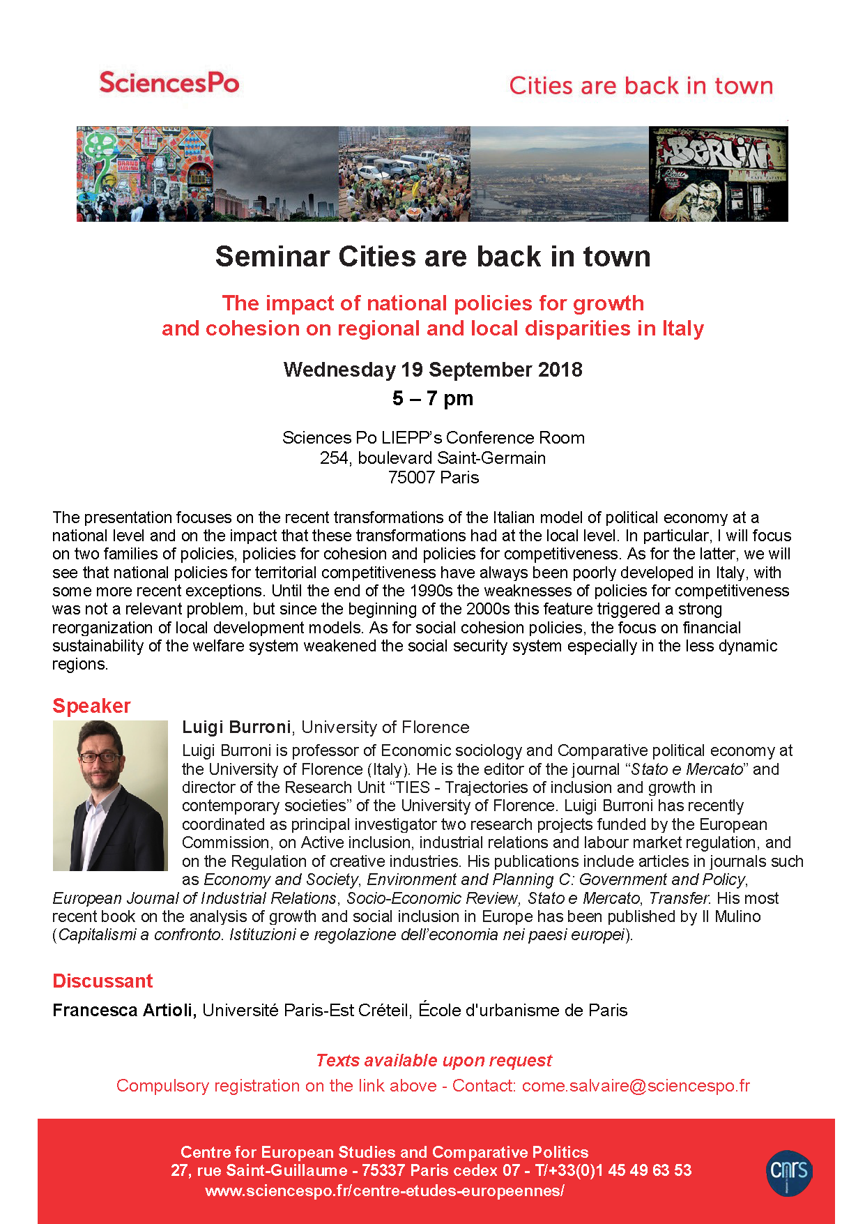 [Séminaire Cities are back in Town] Luigi Burroni, « The impact of national policies for growth and cohesion on regional and local disparities in Italy », Mercredi 19 septembre 2018, 17-19h