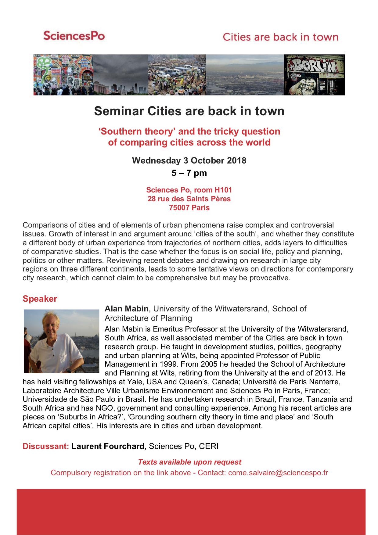 [Séminaire Cities are back in Town] Alan Mabin, « 'Southern theory' and the tricky question of comparing cities across the world », Mercredi 3 octobre 2018, 17-19h