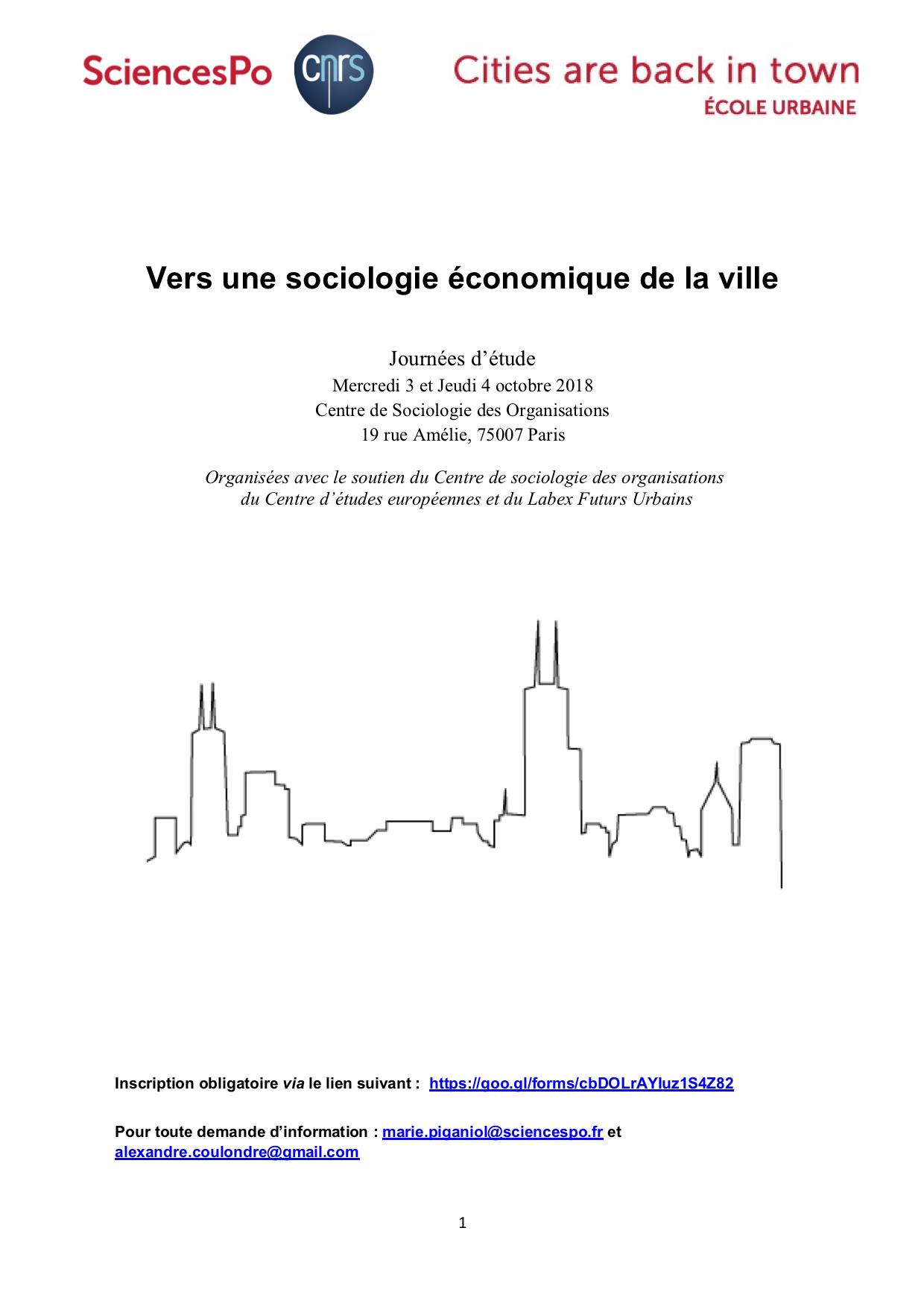 [Journées d'étude] «Vers une sociologie économique de la ville», CSO / Cities are back in Town, 3 et 4 octobre 2018.