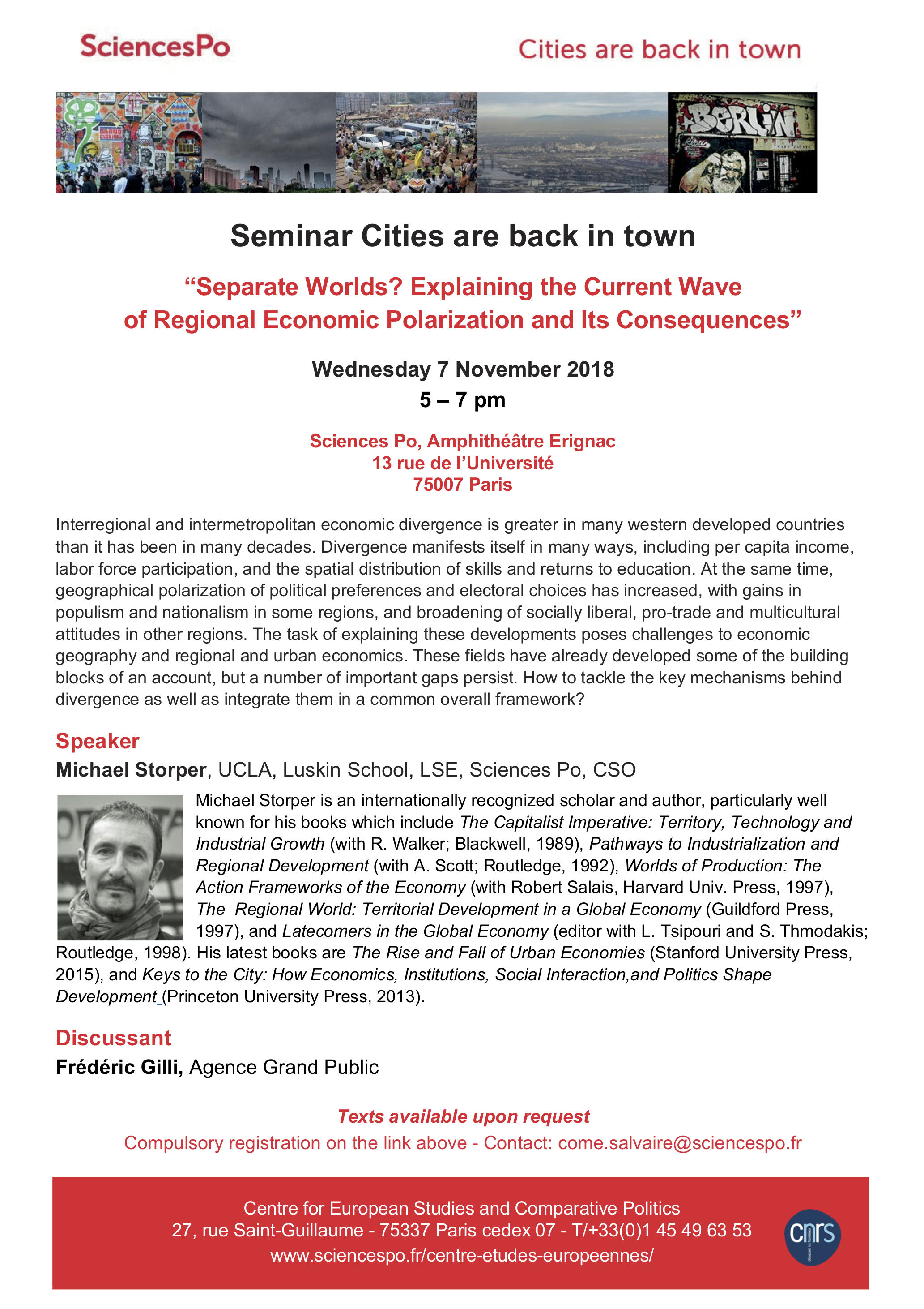[Séminaire Cities are back in Town] Michael Storper, « Separate Worlds? Explaining the Current Wave of Regional Economic Polarization and Its Consequences », mercredi 7 novembre 2018, 17h-19h