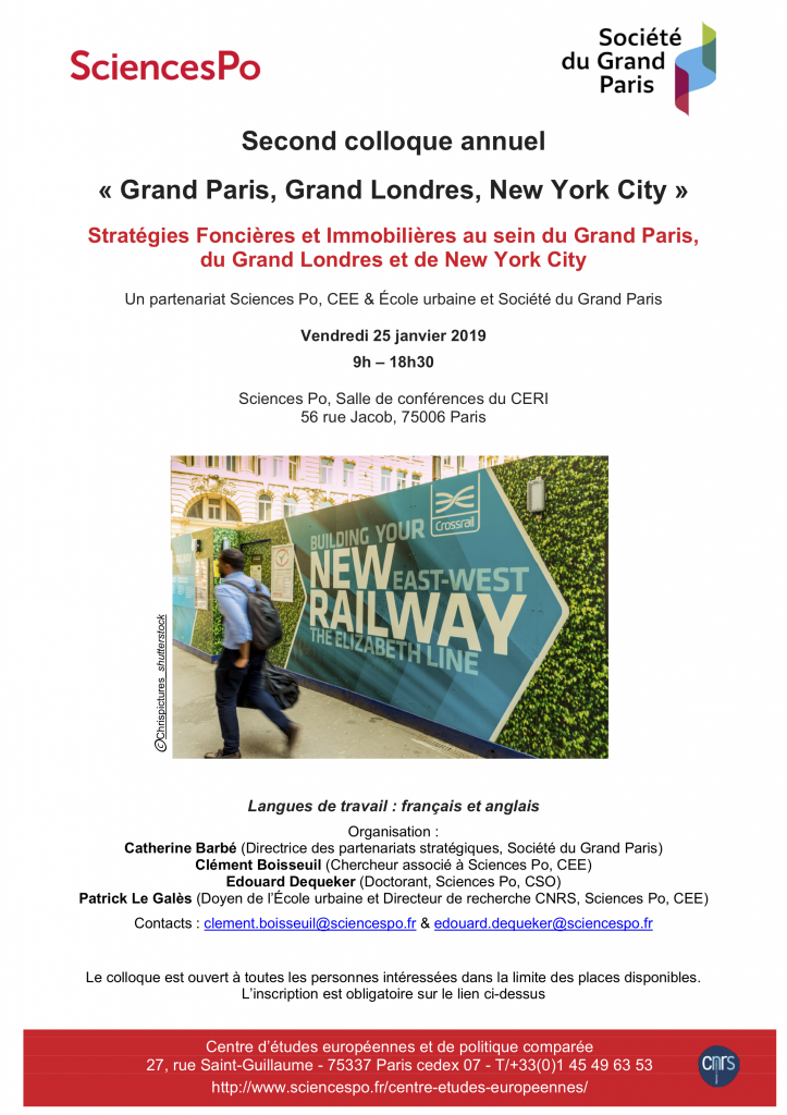 [Second Colloque Annuel « Grand Paris, Grand Londres, New York City »] « Stratégies Foncières et Immobilières au sein du Grand Paris, du Grand Londres et de New York City », 25 janvier 2018, 56 rue Jacob, 75006.