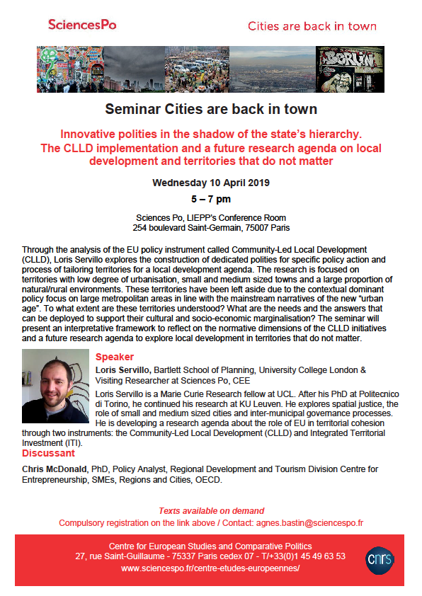 [Séminaire Cities are back in town] Loris Servillo, « Innovative polities in the shadow of state's hierarchy », mercredi 10 avril 2019, 17h – 19h