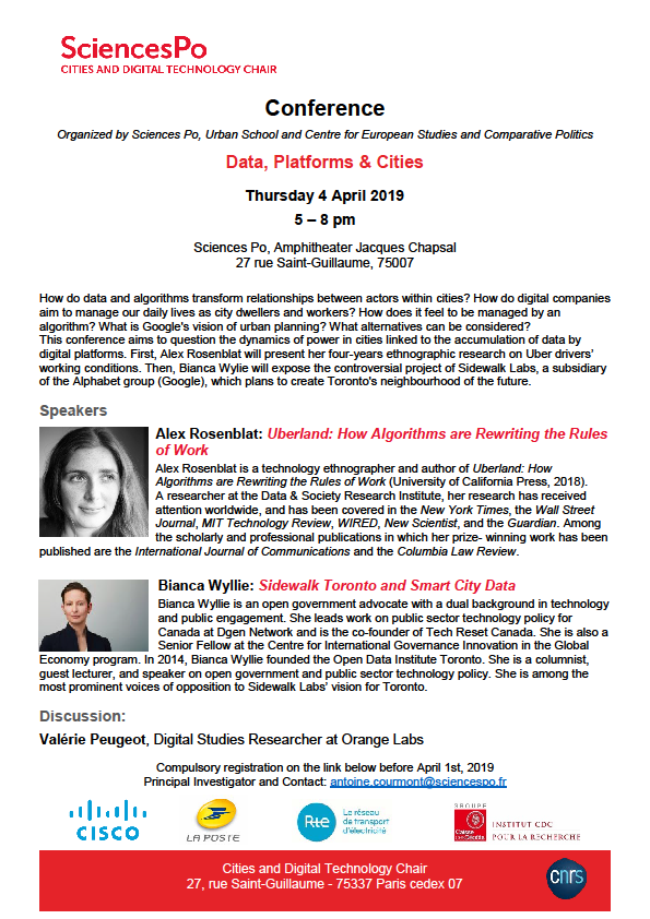 [Conférence] Data, Platforms and Cities, 4 Avril 2019, 17h-20h, CEE – Sciences Po