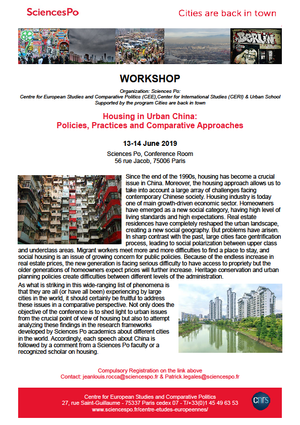 [Workshop] Housing in Urban China:  Policies, Practices and Comparative Approaches, 13-14 Juin, Sciences Po Paris.