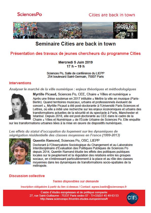 [Séminaire Cities are back in town] Présentation des travaux de jeunes chercheurs, Myrtille Picaud et Quentin Ramond, 5 juin, 17h-19h, Salle de conférence du LIEPP