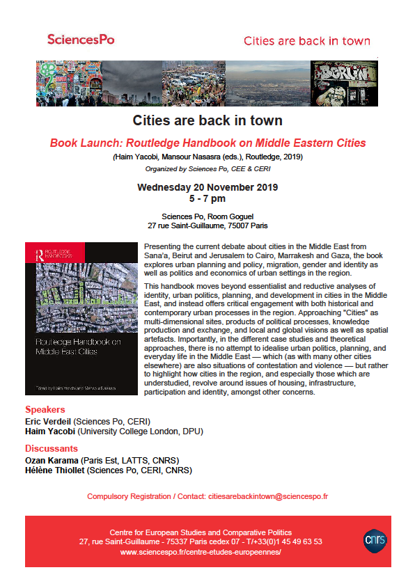 [Séminaire Cities are Back in Town] Book Launch «The Routledge Handbook on Middle East Cities, 20 November, 5-7 pm