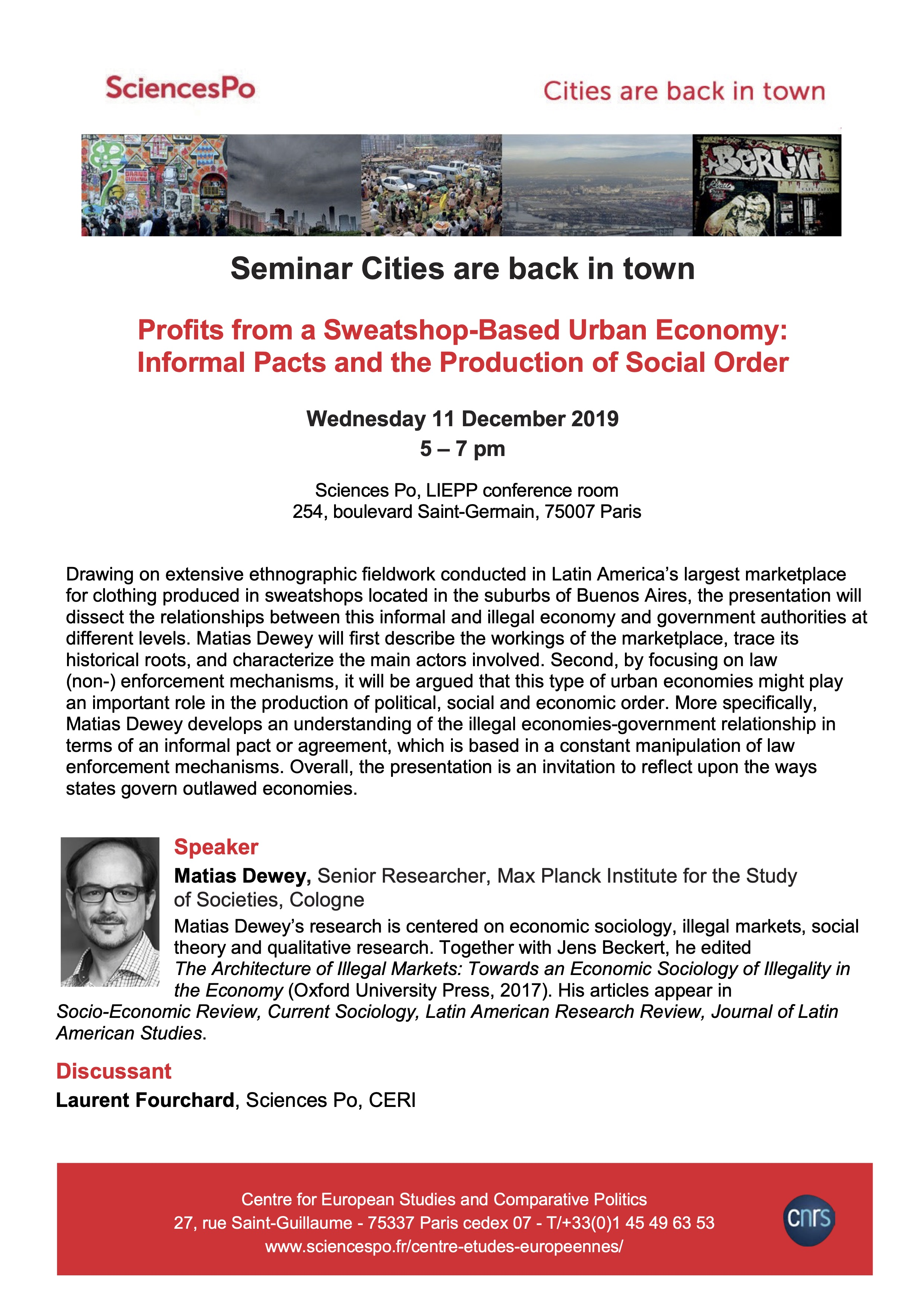 [Séminaire Cities are Back in Town] Matias Dewey, « Profits from a Sweatshop-Based Urban Economy: Informal Pacts and the Production of Social Order », 11 décembre, 17h-19h