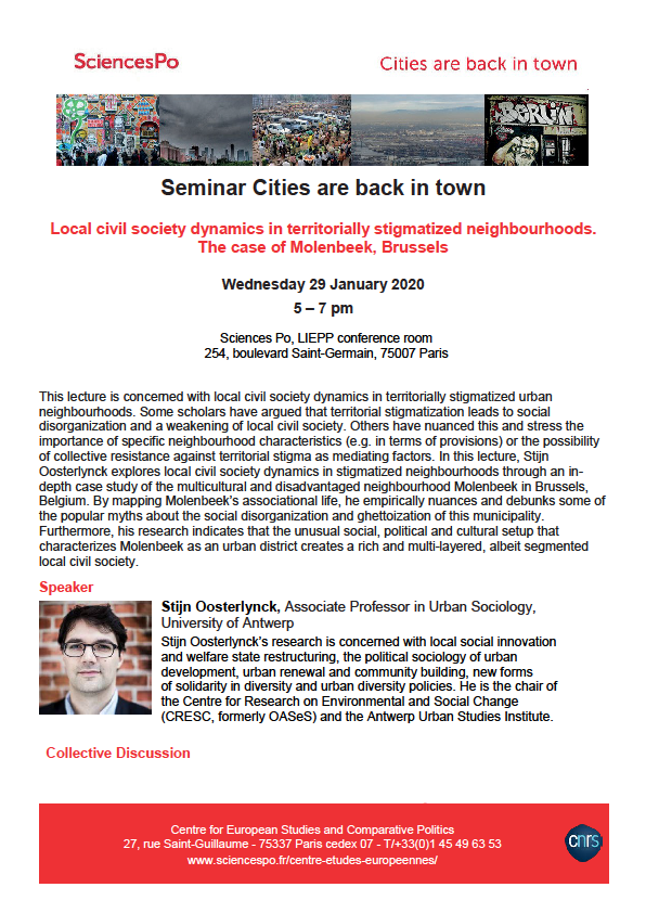 "[Séminaire Cities are Back in Town] Stijn Oosterlynck, ""Local civil society dynamics in territorially stigmatized neighbourhoods. The case of Molenbeek, Brussels."", 29/01/20"