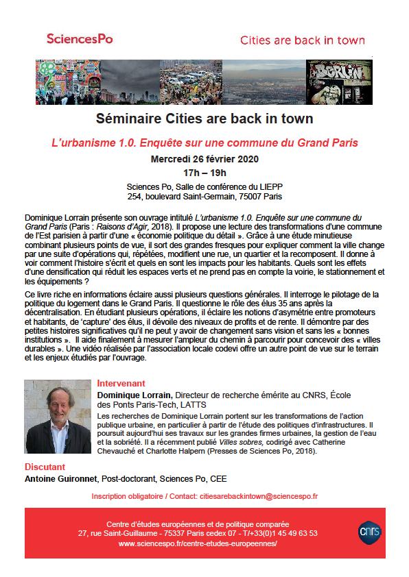 [Séminaire Cities] Dominique Lorrain, L'urbanisme 1.0. Enquête sur une commune du Grand Paris, 27/02/20