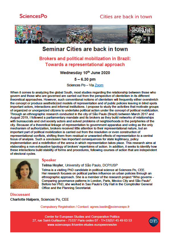[Séminaire Cities] Telma Hoyler, Brokers and political mobilization in Brazil: Towards a representational approach. 10 juin 2020, 17h-18h30