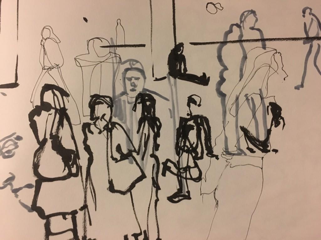 Dessin d'Aurélie Renier - Palais de Tokyo : Carte Blanche à Tino Sehgal