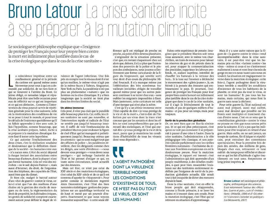 article Le Monde BL 26 mars